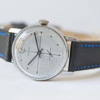 Modern men's watch Pobeda navy blue shades wrist watch checked  face mens accesory premium leather strap antiallergic
