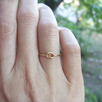 Solid 14k Love Knot Promise Ring in Yellow or Rose Gold - 1mm Gold Band