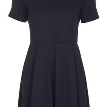 Jersey Ponte Box Pleat Dress - Navy Blue