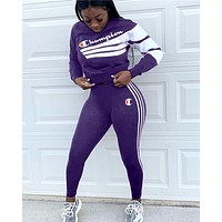 Champion tide brand female letter striped digital print two-piece purple