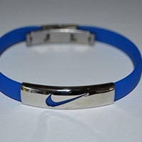 Thin Nike Silicone Wristband Bracelet Baseball Basketball Football Running Band (Blue)