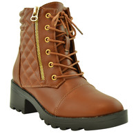 Womens Ankle Boots Lug Sole Chunky Heel Lace Up Quilted Booties Cognac