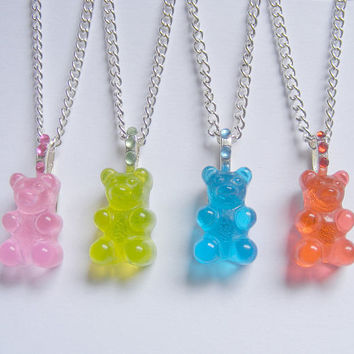 Food Jewelry Bear Pendant, Candy Necklace, Candy Jewelry, Bear Jewelry, Miniature Food Food Jewellery Mini Food Kawaii Jewelry Bear Necklace