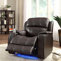 Power Reclining Chair with Massage, LED & Cup Cooler - Brown