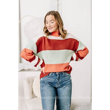 It's A Toss Up Striped Color Block Sweater