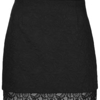 TALL Textured Lace Hem Skirt - Black