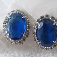 Royal Blue Cab and Rhinestone Clip on Earrings