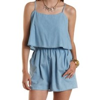 Chambray Denim Chambray Flounce Romper by Charlotte Russe