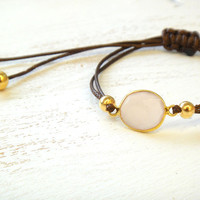 Pink Chalcedony Adjustable Waxed Cord Friendship Bracelet or Anklet