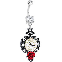 Clear Gem Baroque Clock with Red Rose Dangle Belly Ring   Body Candy Body Jewelry