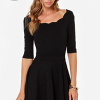 LULUS Exclusive Tip the Scallops Black Dress