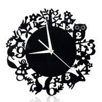 YCC A Woodland Night Black CD Wall Clock Color Black:Amazon:Home & Kitchen