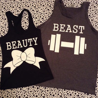 Free US Shipping Fast Processing Beauty and The Beast Matching Couple TShirts or Tanks Charcoal and black