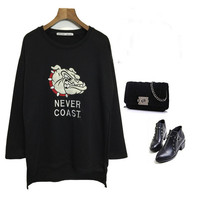Hound Embroidered Long Sleeve Sweater