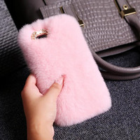 Fashion women pink plush mobile phone case for iphone 6 6s 6 plus 6s plus + Nice gift box 71501