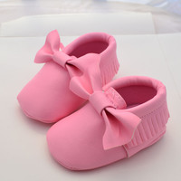 Baby Leather Girls Bow Tie Moccasins