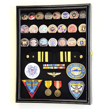 Challenge Coin/Medals/Pins/Badges/Ribbons/Insignia/Buttons Chips Combo Display Case Box