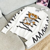 Moschion New fashion letter bear stripe print long sleeve top sweater women