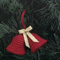 Crochet Christmas Ornament Bells Red , Christmas tree Ornaments , Christmas Decor , Christmas Bell , Bell Ornaments