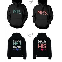 365 In Love Mr and Mrs Matching Hooded Sweatshirts I Stole Her Heart, So I'm Stealing His Couples Hoodies