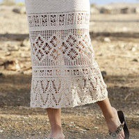 Summer Skirt Long skirt Lace crochet skirt handknit skirt white skirt gothic lolita victorian steampunk boho skirt fashion Drops Lilith