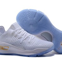 DCCK Men's Under Armor Curry 4 Low-Cup Shoes Basketball Shoes #1807 White Golden 40-46