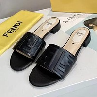 FENDI fashion new embossed letters ladies high heel sandals slippers Shoes Black