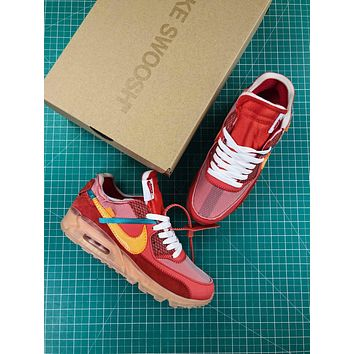 Off White X Nike Air Max 90 University Red Sport Running Shoes
