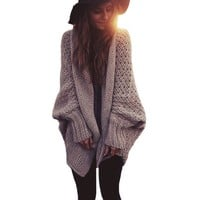 Berry big sleeve knitted cardigan sweater