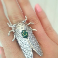 Silver Cicada Ring With Blue Green Fire Opal - Victorian Garden Bug- Vintage Inspired Insect Ring