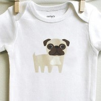 Pug Baby Bodysuit Romper One Piece for Baby Boy or Baby Girl Long or Short Sleeve 3, 6, 9 12 Months