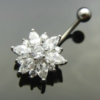 HOT BARGAIN! SUPER DEAL!!! 2014 model BR9023- FLOWER Rinestone 316L Steel Navel Belly Ring Body Piercing fashionry