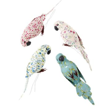 Rice Dk Fabric Covered  Gift Wrapping Budgies 4 Assorted Colors