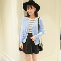 Plain Patterned Long-Sleeve Button Cardigan
