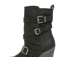 Madden Girl Kloo Black Buckled Mid-Calf Boots