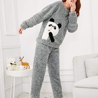 Panda & Letter Embroidered Plush Pajama Set