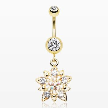 Golden Luscious Flower Sparkle Belly Button Ring