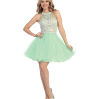 Mint & Nude Low Back Beaded Halter Dress 2015 Homecoming Dresses