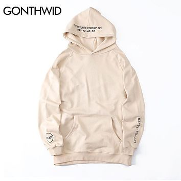 Embroidery Letters Hoodies Resurrection of Evil Side Split Pullover Hooded Sweatshirts Hip Hop Cotton Loose Hoodie