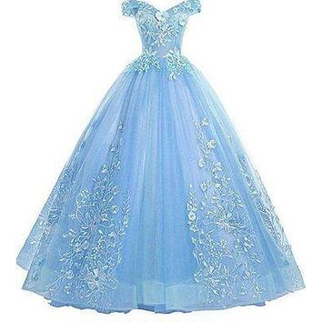 Quinceanera Dresses 2021 New Elegant Boat Neck Luxury Lace Embroidery Vestidos De 15 Anos Party Prom Vintage Quinceanera Gown F