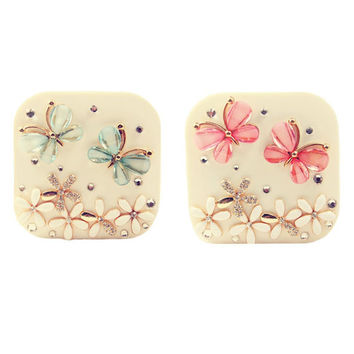 Contact Lens Case Solution Lenses Holder Box Travel Kit Case - Blue and Pink Butterfly