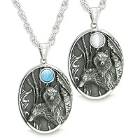 Mother and Son Wolf Family Wild Woods Moon White Cats Eye Simulated Turquoise Pendant Necklaces