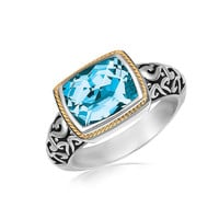 18K Yellow Gold and Sterling Silver Rectangular Blue Topaz Milgrained Ring: Size 7