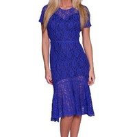 Beautifly Women's Knee-length Blue Lace Formal Gown size 4