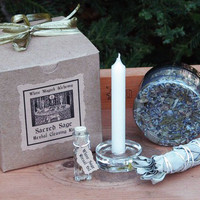 Sacred Sage . Herbal Clearing and Smudging Kit . For Cleansing and Clearing the Home/Yourself of Negativity, Banishing, Protection