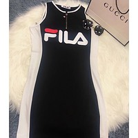 FILA Women Lapel Short Sleeve Print Pattern Dress