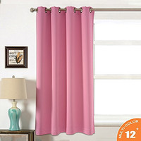 AMAZLINEN Toxic Free 52 W X 63 L Inch Grommet Top Blackout Curtains for Kids Thermal Insulated 1 Panel Pack (Barbie Pink)