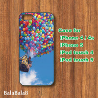 Colorful Balloon house - iPhone  4 case, iphone 5 Case,iPod  touch 4 case , iPod touch 5 case ,  in durable plastic or rubber silicone case