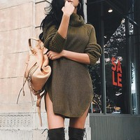 Fashion Long Sleeve Split Top Sweater