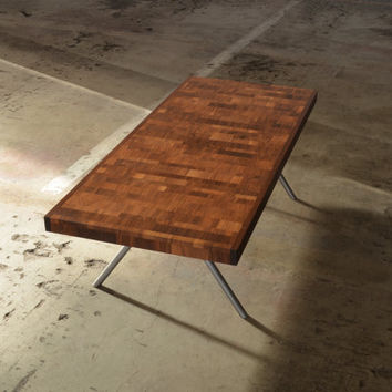 Variegated Walnut Coffee Table - Modern, contemporary, reclaimed wood with custom steel legs